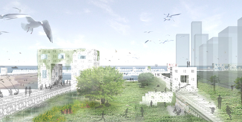 大阪湾の埋立地再生計画のイメージパース